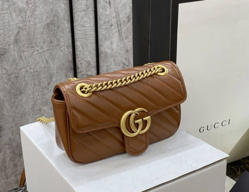 fake gucci bag GG marmont brown for sale