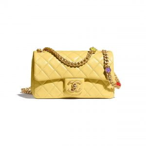 fake chanel bag flap yellow for sale